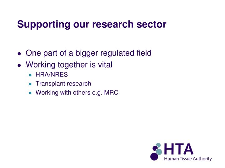 Supporting our research sector