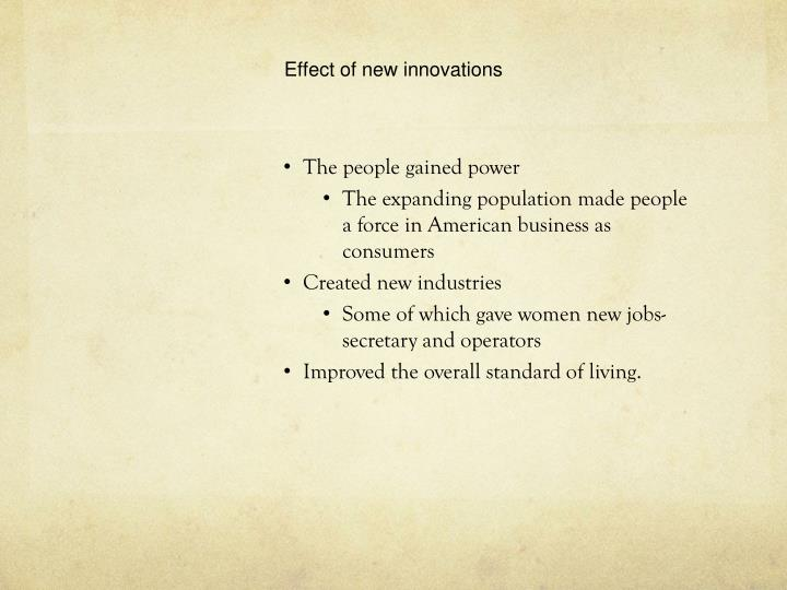 Effect of new innovations