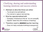 clarifying sharing and understanding learning intentions and success criteria