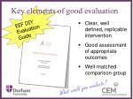 key elements of good evaluation