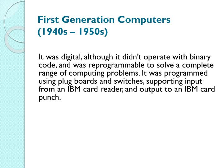 First Generation Computers