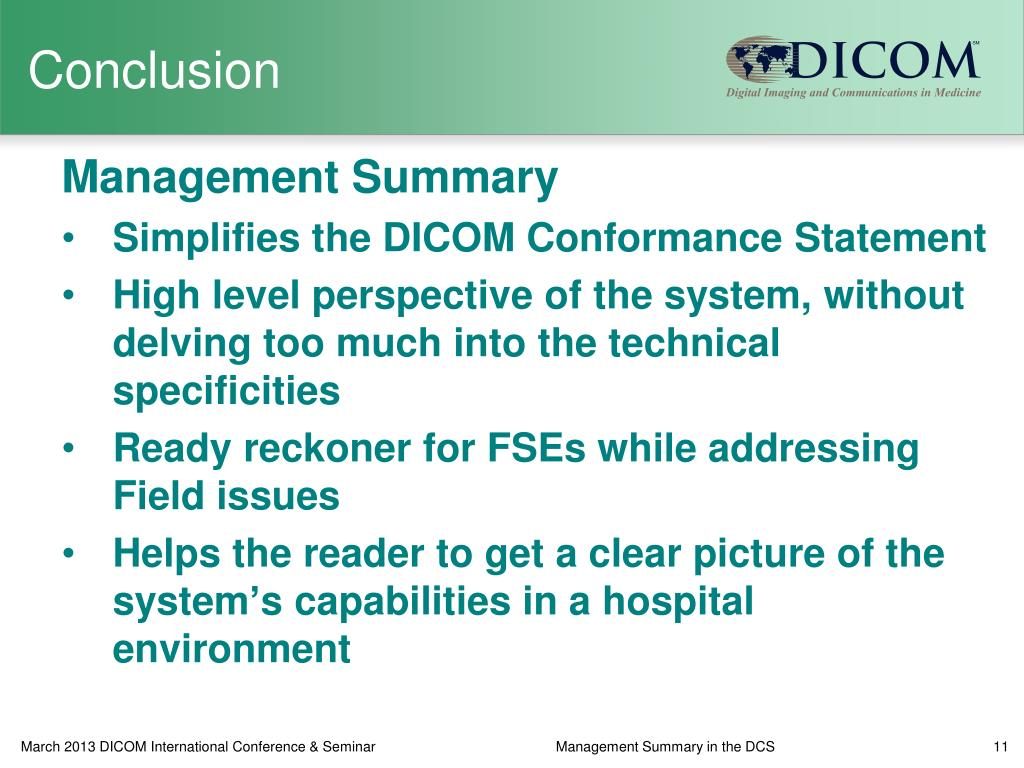 PPT - Management Summary in the DICOM Conformance Statement