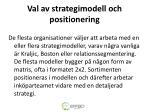 val av strategimodell och positionering