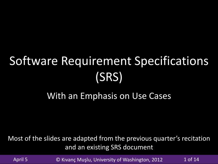 software requirement specifications srs n.