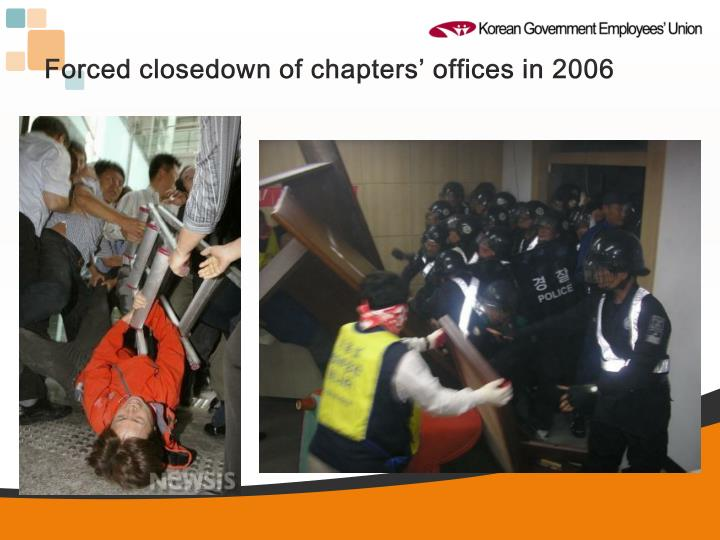 Forced closedown of chapters' offices in 2006