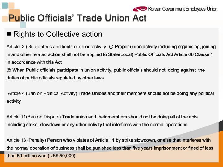 Public Officials' Trade Union Act