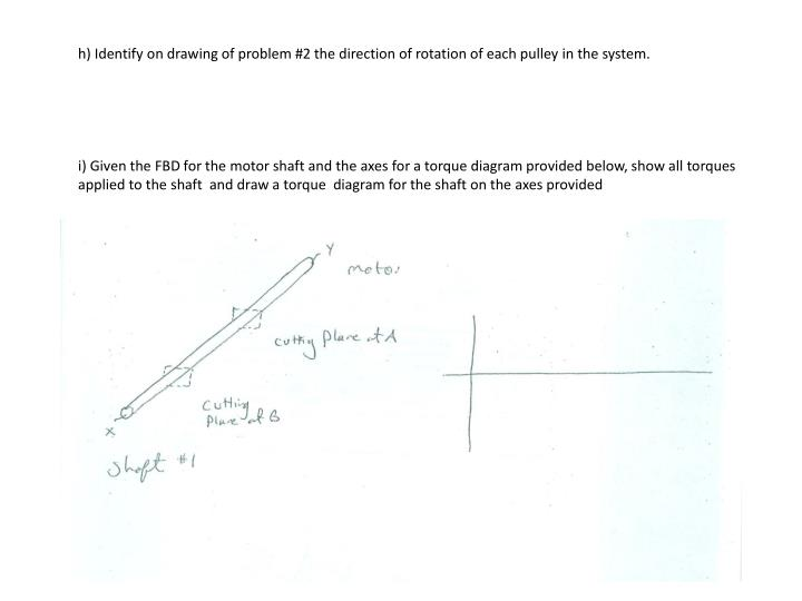 h) Identify on drawing of problem #2 the direction of rotation of each pulley in the system.