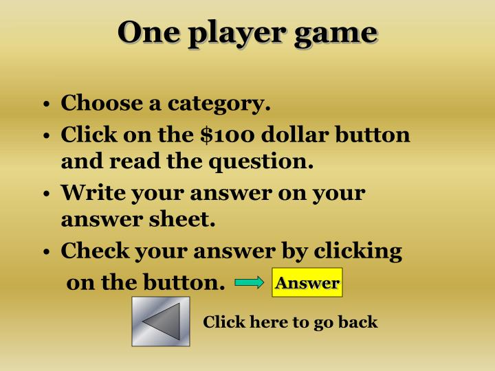 One player game