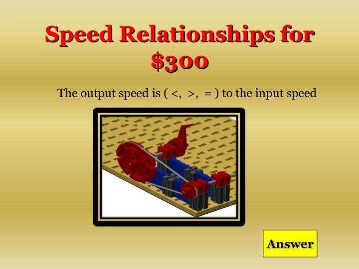 Speed Relationships