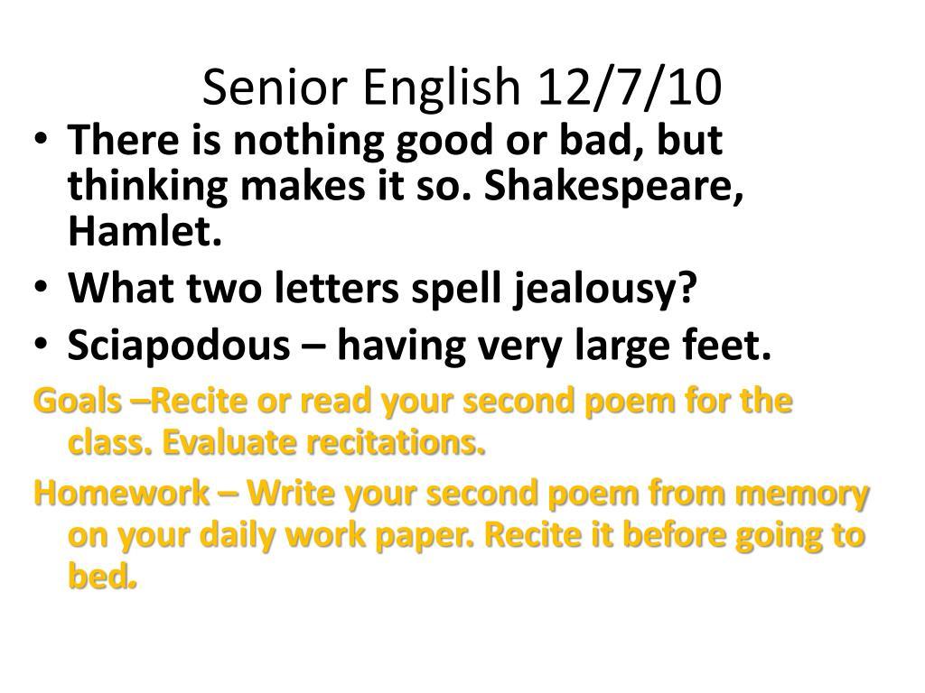 PPT - Senior English 12/6/10 PowerPoint Presentation - ID
