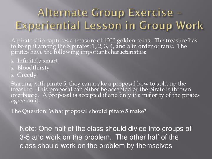 Alternate Group Exercise –
