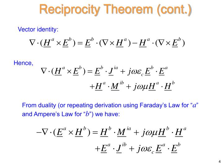 Reciprocity Theorem (cont.)