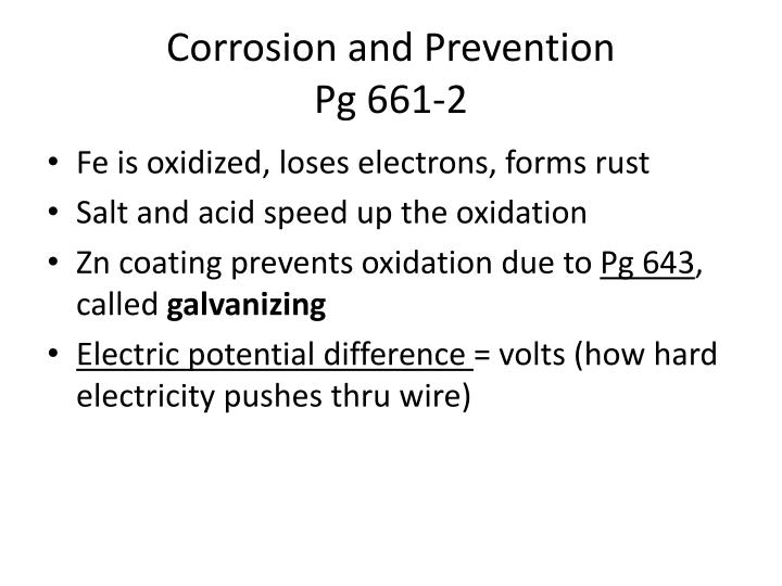 Corrosion and Prevention