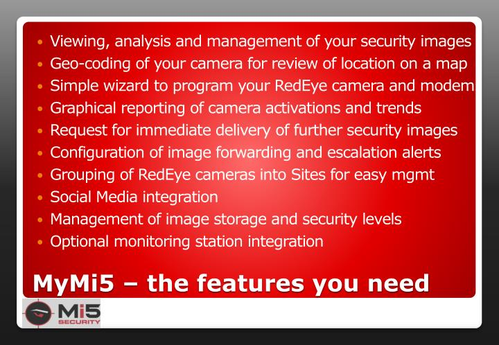 Viewing, analysis and management of your security images