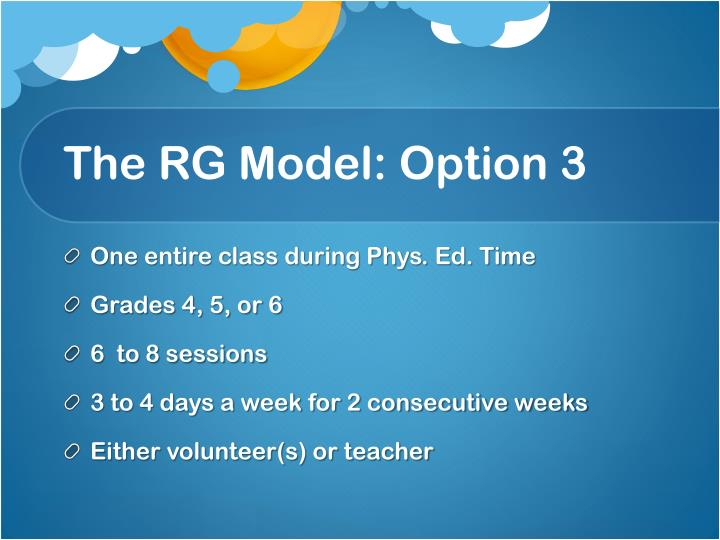 The RG Model: Option 3