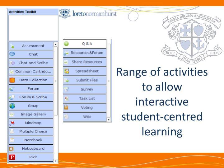 Range of activities to allow interactive student-