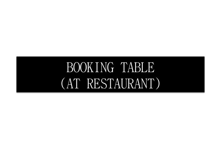 booking table at restaurant n.