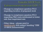 possible sage suite enhancements based on gim 13