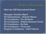 team in transition