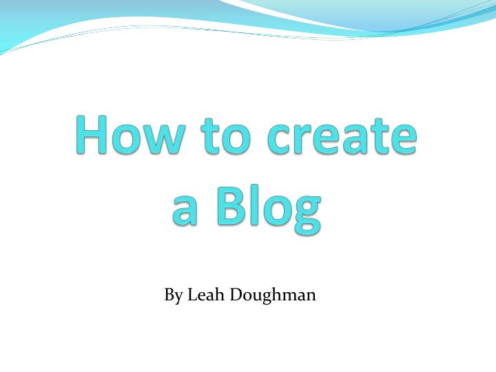 how to create a blog n.