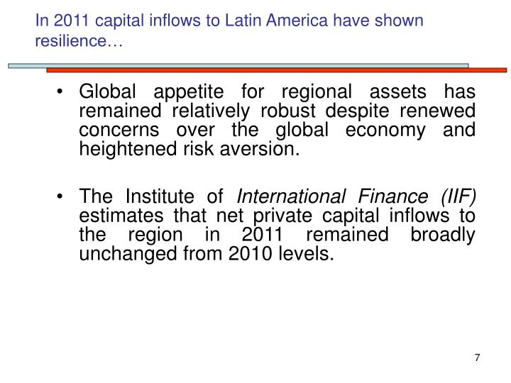 In 2011 capital inflows to Latin America have shown resilience…