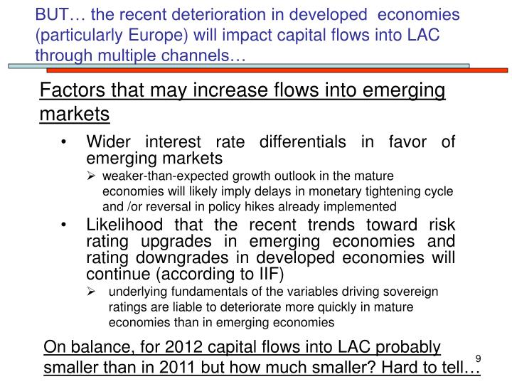 BUT… the recent deterioration in developed  economies (particularly Europe) will impact capital flows into LAC through multiple channels…