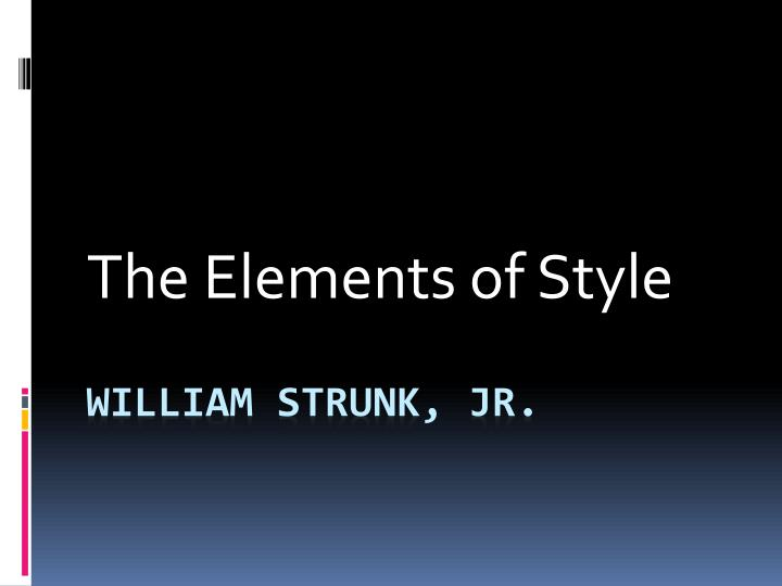 the elements of style n.