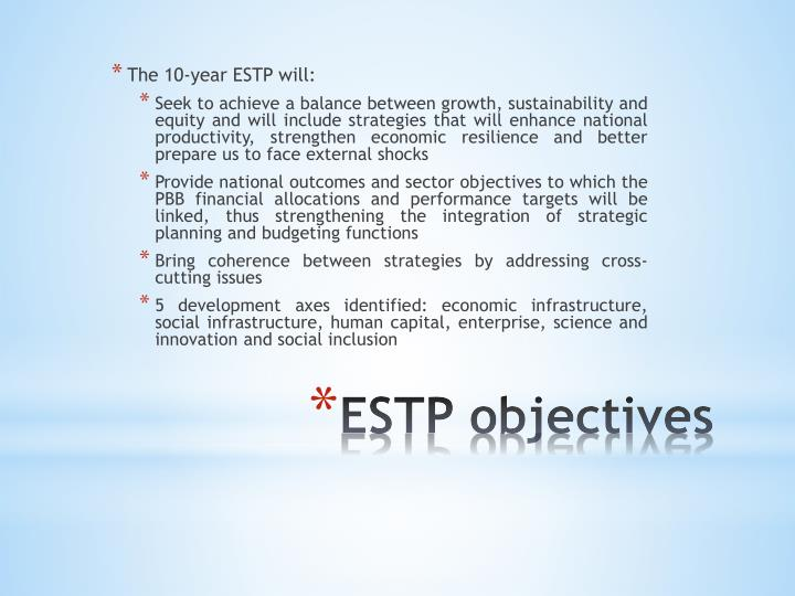 The 10-year ESTP will: