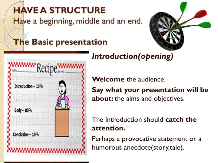 Have a structure have a beginning middle and an end the basic presentation