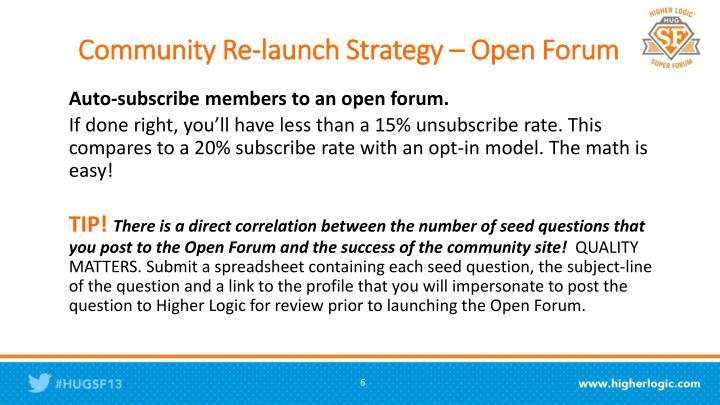 Community Re-launch Strategy – Open Forum