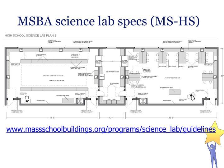 MSBA science lab specs (MS-HS)
