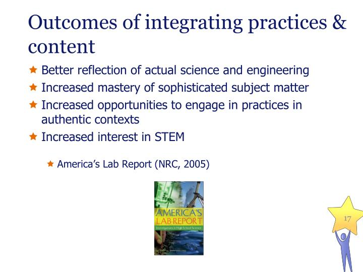 Outcomes of integrating practices & content