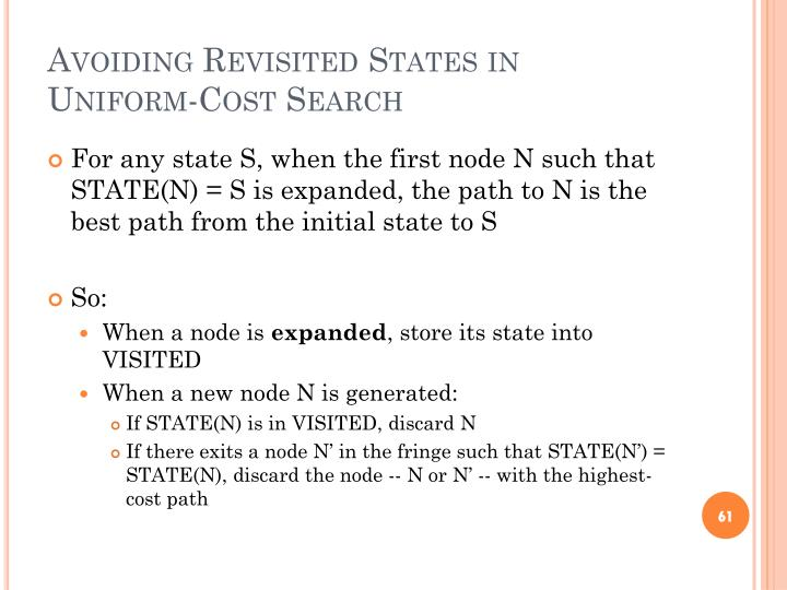 Avoiding Revisited States in Uniform-Cost Search