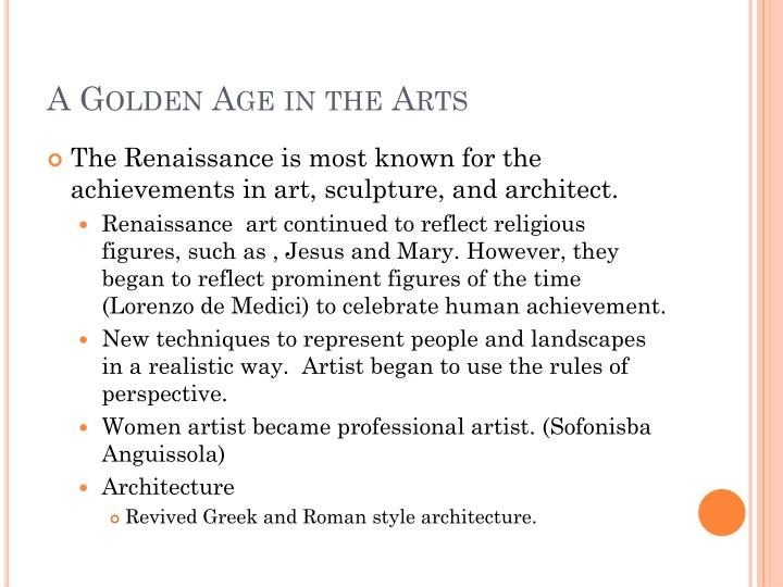 A Golden Age in the Arts