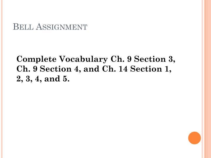 Bell assignment