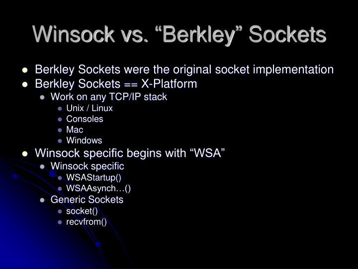 """Winsock vs. """"Berkley"""" Sockets"""