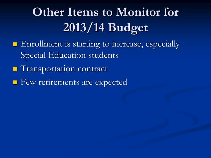 Other Items to Monitor for 2013/14 Budget