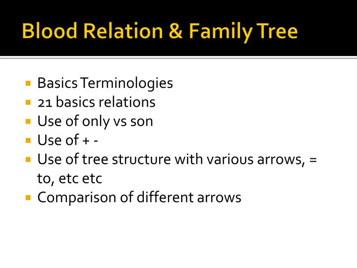 Blood Relation & Family Tree