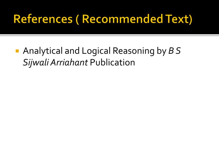 References ( Recommended Text)