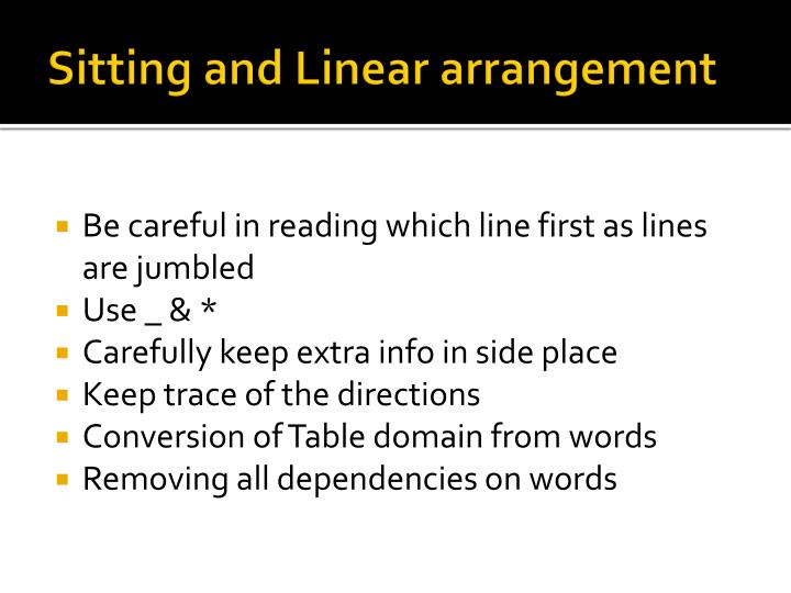 Sitting and Linear arrangement