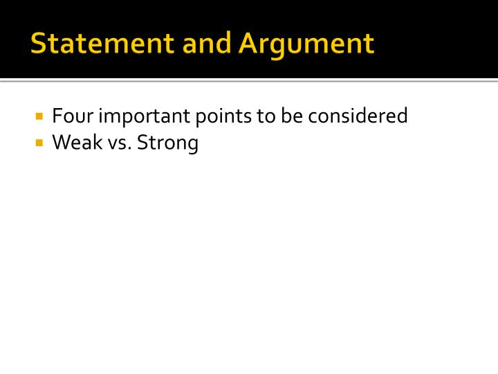 Statement and Argument