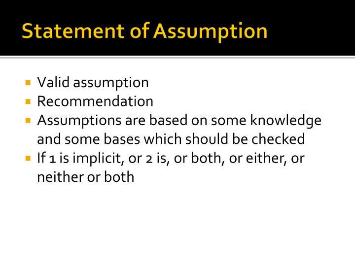 Statement of Assumption