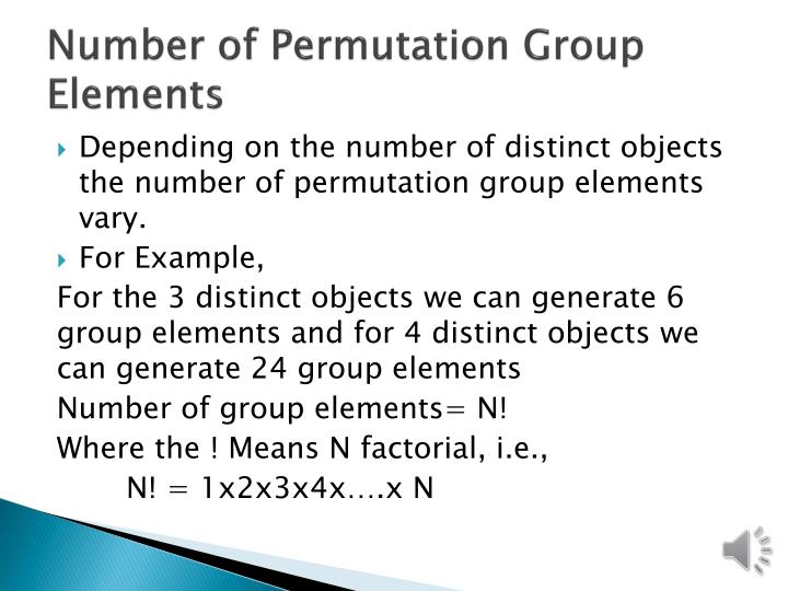 Number of Permutation Group Elements