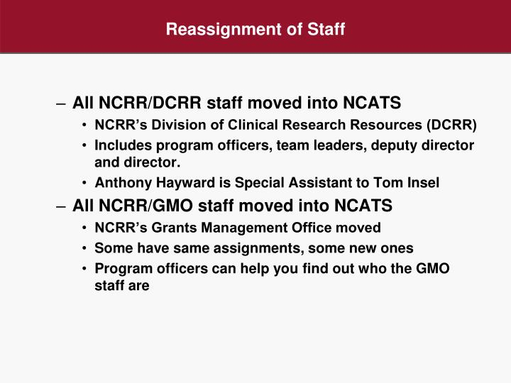 Reassignment of Staff