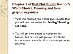 chapter 3 of bud not buddy author s word choice meaning and tone graphic organizer