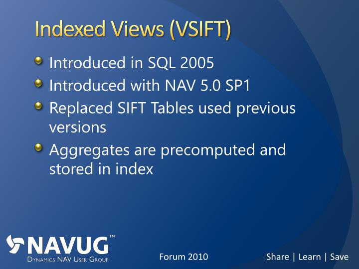 Indexed Views (VSIFT)