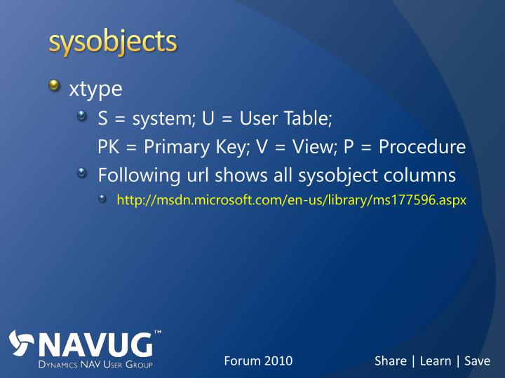 sysobjects