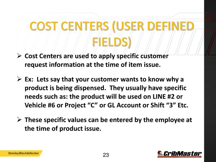 Cost Centers (User Defined Fields)