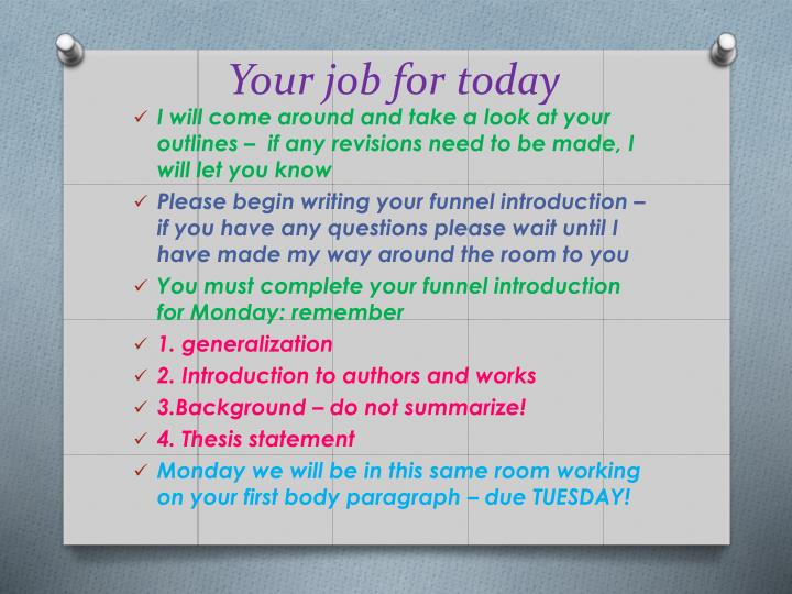 Your job for today