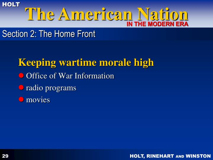 Section 2: The Home Front